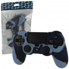 Pro Soft Silicone Protective Cover with Ribbed Handle Grip [Camo Dark Blue] /PS4