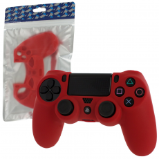 Pro Soft Silicone Protective Cover with Ribbed Handle Grip [Red] /PS4
