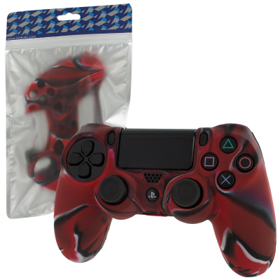 Pro Soft Silicone Protective Cover with Ribbed Handle Grip [Camo Red] /PS4