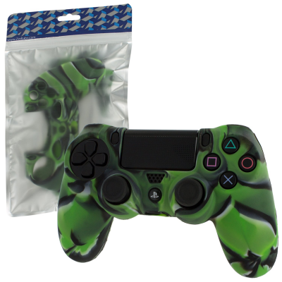 Pro Soft Silicone Protective Cover with Ribbed Handle Grip [Camo Green] /PS4