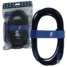 ZedLabz Ultra 5m gold plated braided charging cable for Sony PS4 controller inc cable tidy & bag